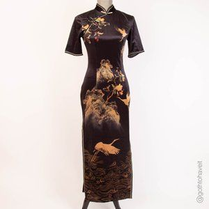 Velvet Asian Mandarin Collar Dress